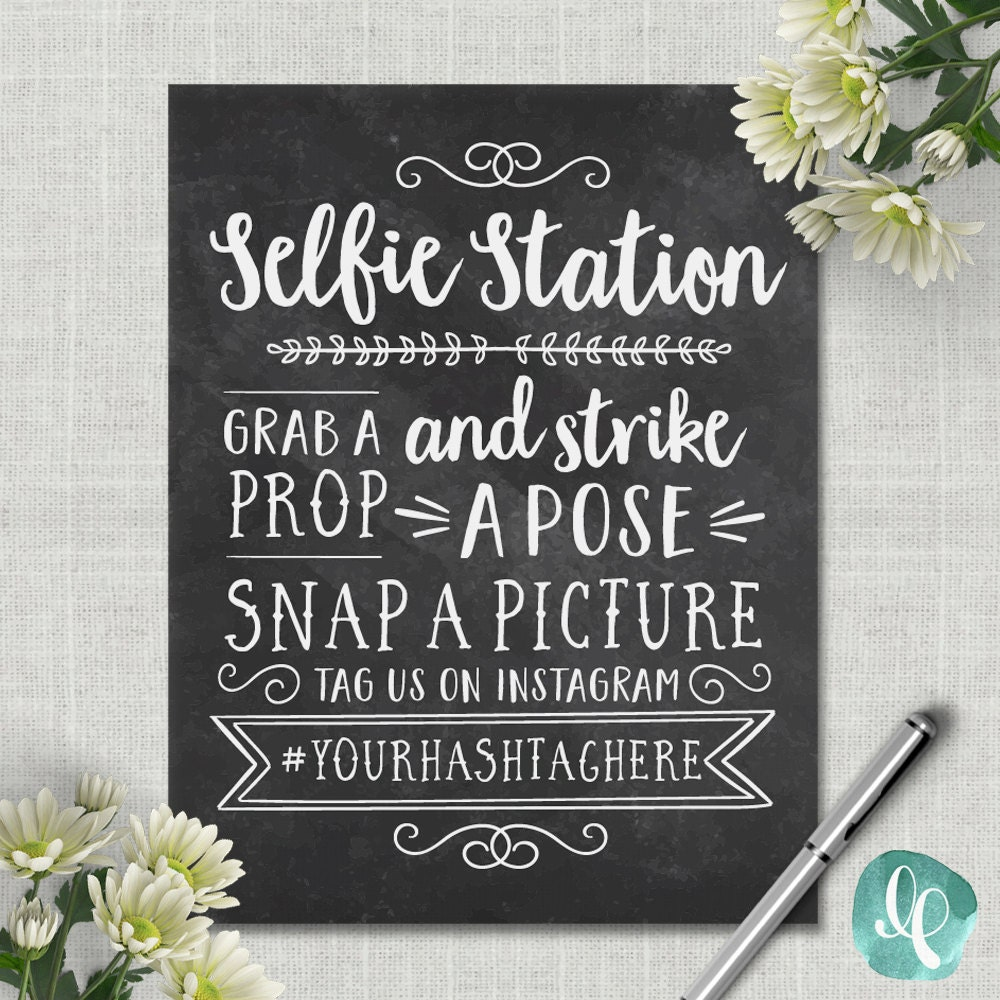 Station Eleven Quotes With Page Numbers: Chalkboard Selfie Station Sign / Wedding Photo Booth Sign