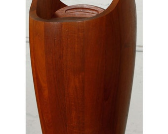 Classic Dansk Teak Ice Bucket in the Impressive Grande size, w/ tongs