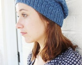 Womens Slouchy Knit Beanie Hat/Teen Girl Beanie/Blue Hat/Hand Knit Hat/Slouchy Beanie Women/Slouchy Hat/Wool Beanie/Teen Girl Gifts/Beanie