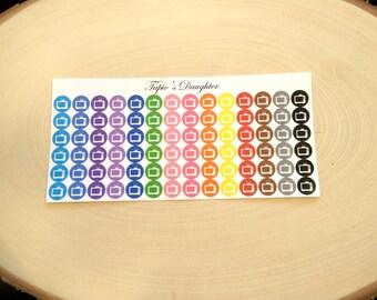 icon stickers, multicolored tv television, programme, for Erin Condren, happy planner, filofax owner, personal size, a5, kikki k, carpe diem