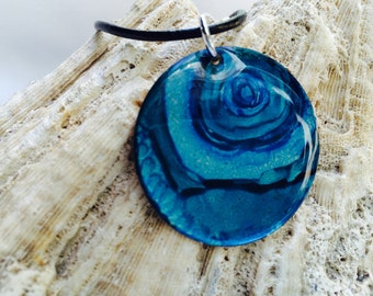 Alcohol Ink Shades of Blue  Necklace (3)