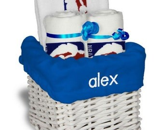 Personalized NBA Logo Baby Gift Basket - Bib, 2 Burp Cloths - Small