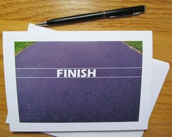 Set of 3, Running Inspired Blank Note Cards, Road Finish Line, Runner, Athlete, Support thank you, Congratulations, Encouragement-Ships Free