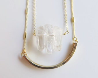 Layered Crystal & Bar Necklace