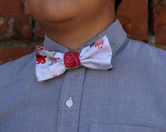 off white gray polka dot floral print bow tie, adult bow tie, bowtie, bow tie for men, floral bow tie, back to school, adjustable bowtie