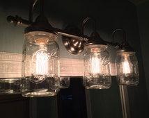 Rustic Mason Jar Vanity Light