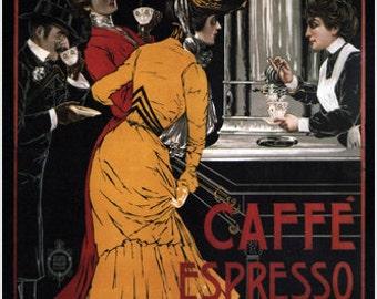 Caffé Espresso Vintage Ad Poster 24x36 V. Ceccanti Italy 1900 Classic Refined