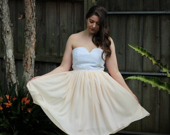 REDUCED Peach and White Leaves Chiffon Formal Dress