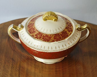 Rare Crooksville China Co Sugar Bowl, Pasmantier Pattern, Made In USA