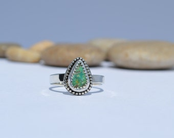 Turquoise ring, sterling silver and turquoise ring, natural turquoise, solitaire turquoise ring, turquoise stacking ring, silver and green