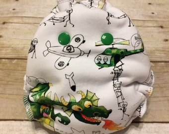 Newborn Cloth Diaper Hybrid Fitted Diaper, Doodled Army Men with Dragons with Wind Pro, Newborn Cloth Diaper, Velour inner