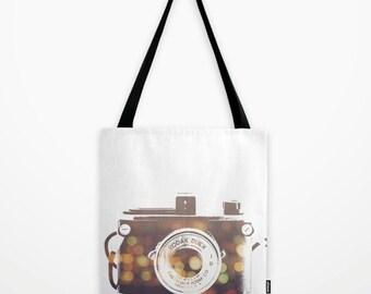 camera tote bag, camera bag, camera print, bokeh, market bag, photography, fashion, gift for her, school bag, modern accessory, beach bag