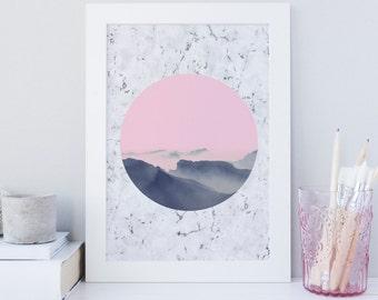 Mountain wall art, Minimalist print, Scandinavian, Pink Clouds, Printable wall art print, Marble print, dream print, pink skies wall art