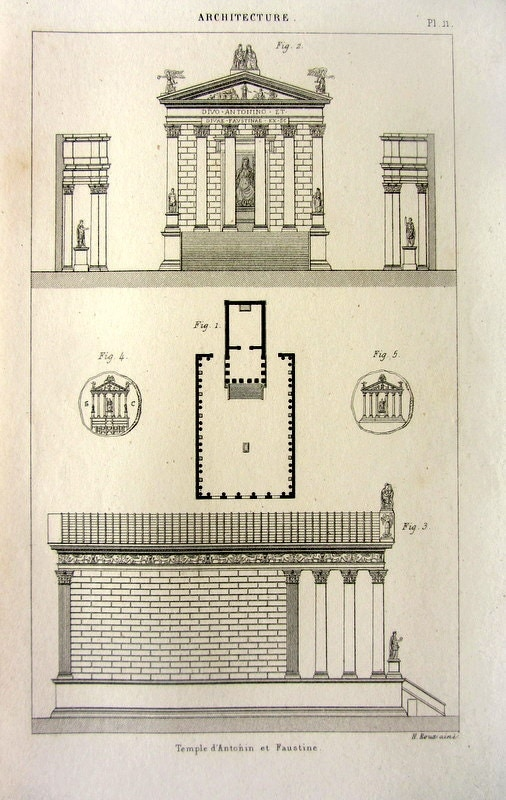 1852 antique architecture print of temple of antoninus and for Print architectural plans
