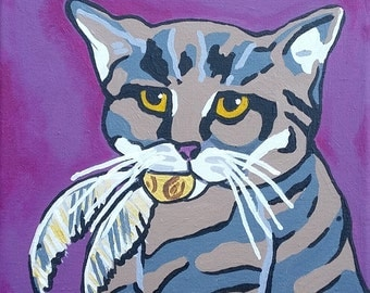"Cat ~ Snitch ~ Purple ~ Harry Potter 8"" x 8"" Acrylic Painting Original"