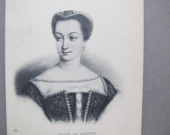 Diane de Poitiers post card / French nobility antique postcard / French Royalty Etching postcard / ND Phot