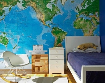 Map of the world self adhesive wallpaper