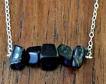 Sterling Silver and Black Jasper Gemstone Bar Minimalist Necklace - Handmade Jewelry Crafted in the Pacific Northwest