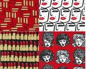 Bouffants and Broken Hearts Red Bundle from Robert Kaufman Fabrics - Bundle of 4 Fabrics - You Choose Size