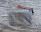 Leather Clutch - Distressed Olive Zipper Pouch, Detachable Leather Strap. Bridesmaid Gift, Gifts for Her. Minimalist Fall Style. Brass Clasp