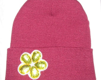 "Maroon Beanie with Yellow Flower Design ""Jackie"""