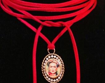 Beautiful suede Frida Kahlo necklace