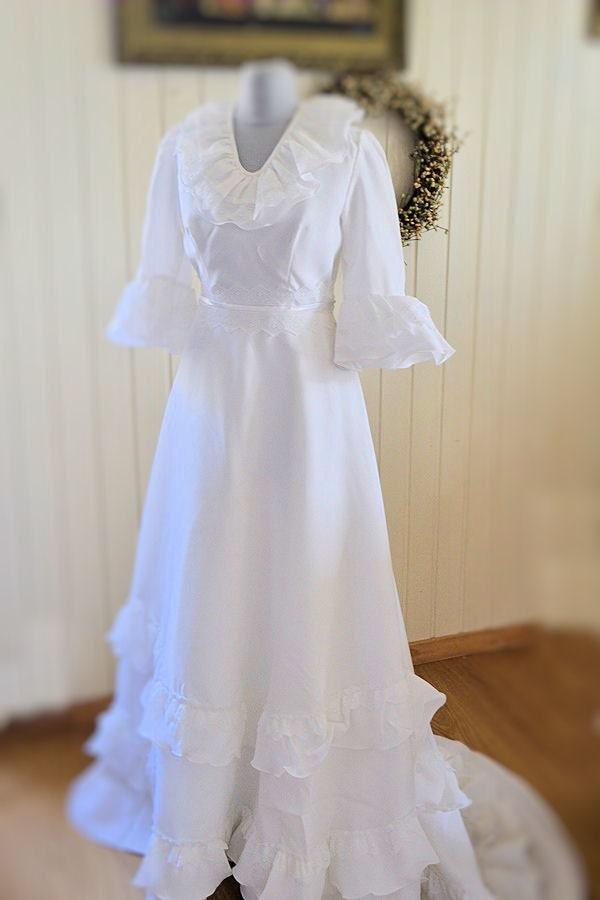Vintage French Wedding Dress 1970s Boho Rustic Wedding