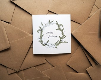 Flower Garland Birthday Card