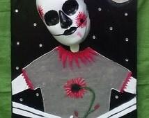 Goth gifts, Punk art, Goth art, Eternal love, Love never dies, Painted mask art, Wall masks, Hanging masks, Original mixed media, 3-D art