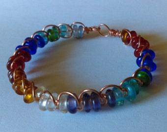 Rainbow Glass Bead Copper Wire Wrapped Bracelet OOAK Handmade
