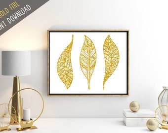 Feathers Print, Golden Feathers Art Print, Faux Gold Foil Print, Feathers Wall Art Decor, Boho Wall Art, Tribal Wall Art, Bohemian Decor