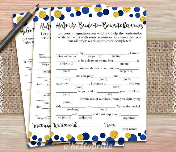 Help The Bride To Be Write Her Vows Game Wedding Vows Bridal