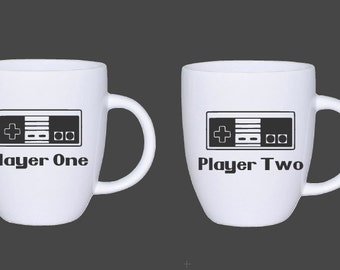 NES Nintendo Controller Player One Player Two Coffee Mug DECALS - Player 1 Player 2 Beverage Decals