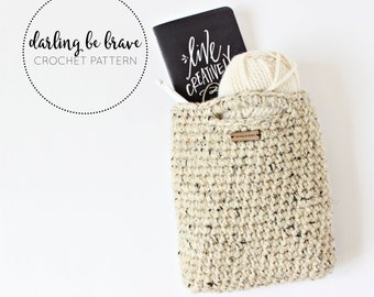 TOTE BAG | crochet pattern & tutorial, small crochet market bag, chunky yarn pattern, pdf file, instant download