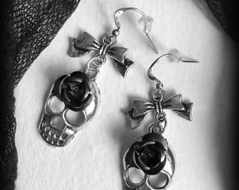 Silver Gothic Skull Earrings with Black Roses