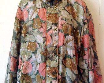 100% silk 90's leaf pattern pink and green women's XL vintage windbreaker jacket