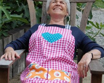 Martha: Apron Vichy pink adult