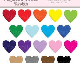 Heart Clip Art, Hearts Clip Art, Rainbow Heart Clip Art, Hearts PNG, Digital Hearts, Small Commercial Clip Art, School Supplies Clip Art