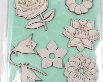 10 chipboard 3D stickers for scrapbooking and card making or decorating, Rahmenn (flowers)