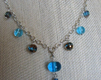Transparent Blue Glass Bead Necklace, Transparent Blue Glass Bead Pendant, Transparent Blue Glass Bead Jewelry