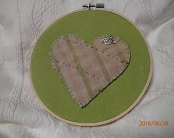 Hoop Artwork. Vintage Quilt. Quilted Heart. Heart. Rustic Decor. Primitive. Patchwork. Unique Artwork. Handmade. One-of-a-Kind. Unique.