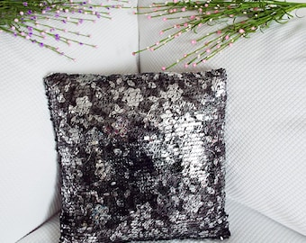 Silver-Black flower pattern sequin pillow cover/free shipping