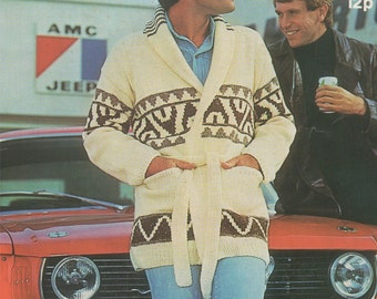 Mens Cardigan PDF Knitting Pattern : Starsky and Hutch Style Jacket . 32 - 34, 36 - 38, 40 - 42 and 44 - 46 inch chest . Digital Download