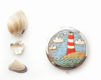 Wanderlust gifts for traveler Pocket Mirror Lighthouse Sea lover Nautical gift for girl Sailing party gift for explorer Travel accessory