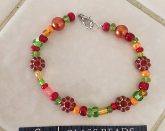 Czech Multi Colored Beaded Bracelet