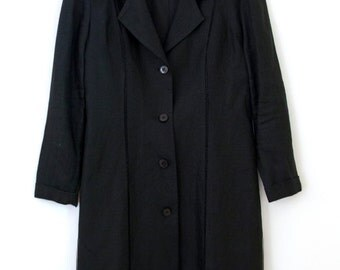 Obsidian Jacket — 1980s vintage long black linen blazer // Oberon minimalist lightweight summer coat// 6 // small // medium