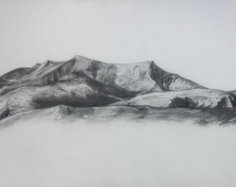 Blencathra  Original Charcoal Drawing