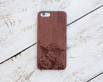 Star Wars Gift, Wood Case, Yoda, iPhone 7, 7 Plus, 6s, 6 6 Plus, 5s, 5, SE, Samsung Galaxy S7, S6, Note 7, Cover, Laser Engraved #4042