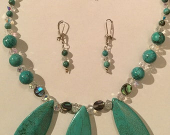 Turquoise, Paua shell and Swarovski Crystal Necklace