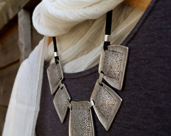 Squares Leather Silver Necklace //  Bib Necklace  // Handcrafted // Statement Necklace // Modern Look.